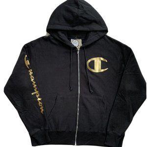 Champion Reverse Weave Zip Hoodie Jacket Black S M